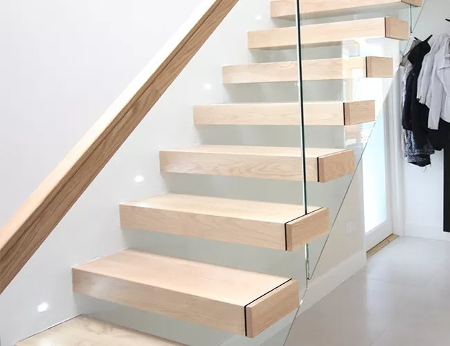 Wooden Tread Railing Building Floating Stairs Floating Glass   Top Of Stairs Railing   Redo   Loft   Beautiful Staircase   Solid Wood   Handrail