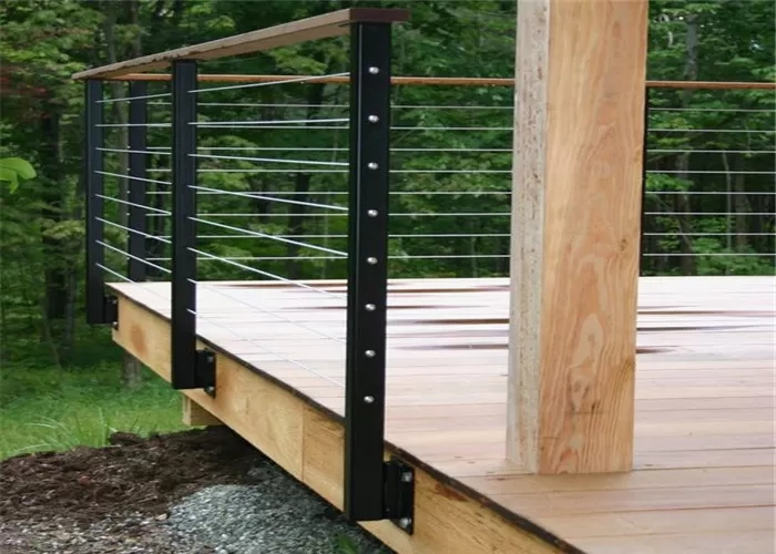 Exterior Stainless Cable Stair Railing System Stainless Steel   Exterior Wood Stair Railing   Staircase   Aluminum   Indoor   Landing   Commercial Building