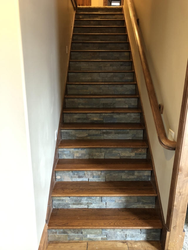 Staining And Installing Hardwood Stairs Remodel Old Carpet Stairs | Tile Risers On Wood Stairs | Stair Tread | Decorative | Wood Finish | Stair Outdoors | Wooden