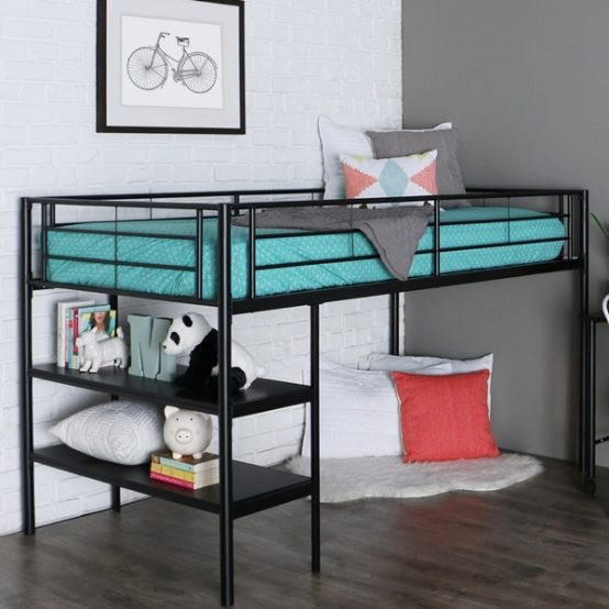 Twin Black Metal Low Loft Bed With Desk Amp Shelves