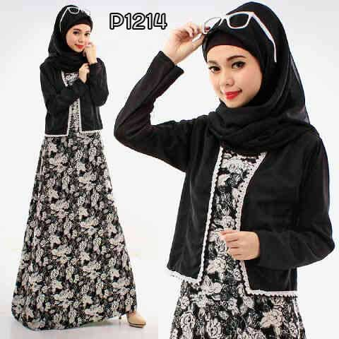 Busana Modis Flower Black P Model Baju Kerja