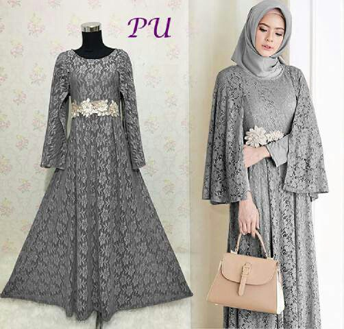 Baju Gaun Pesta Ratih Full Brokat Model Gamis Modern