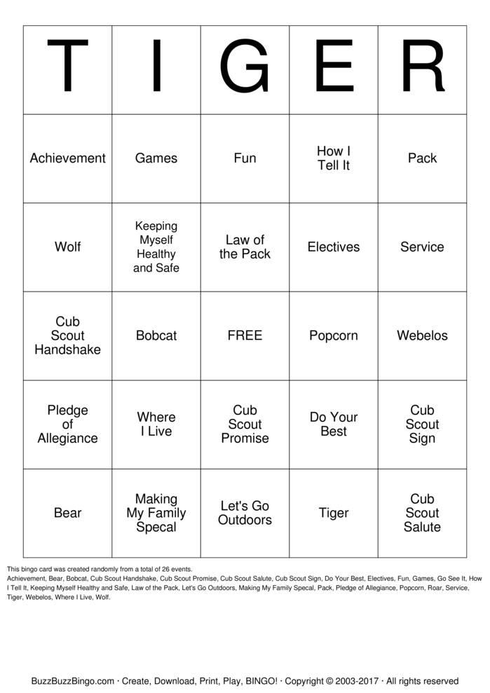 Tiger Cub Den 5 Bingo Bingo Cards To Download Print And