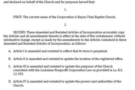 Free Professional Resume Louisiana Voter Registration Status - Articles of incorporation for churches template