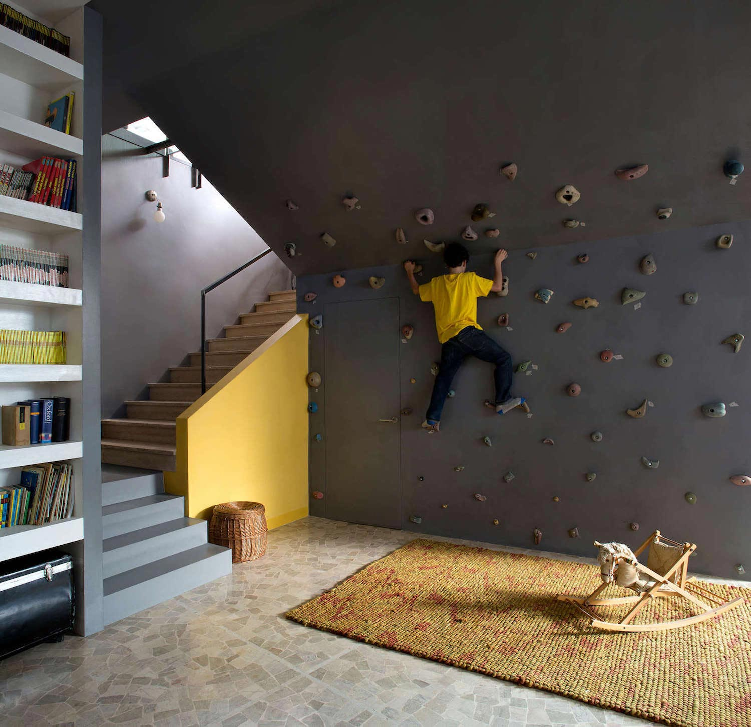Fun Home With Lots Of Contrasting Materials And Colors Has