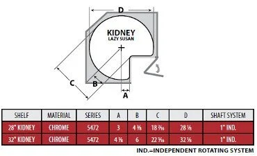 Kidney Shaped Lazy Susan Installation Information