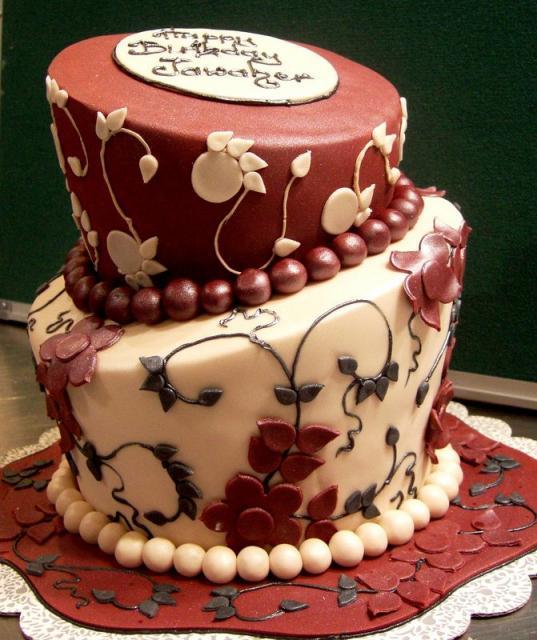 Two Tier Elegant Birthday Cake For Women With Beads Jpg 4