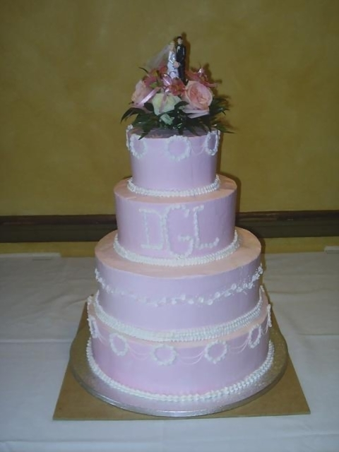 Light purple Wedding Cakes with fresh floral topper and ...