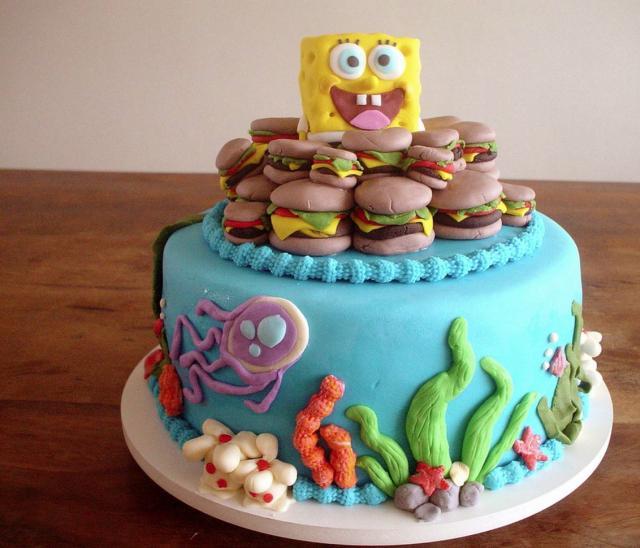 Spongebob Squarepants Cake With Crabby Patties And Marine