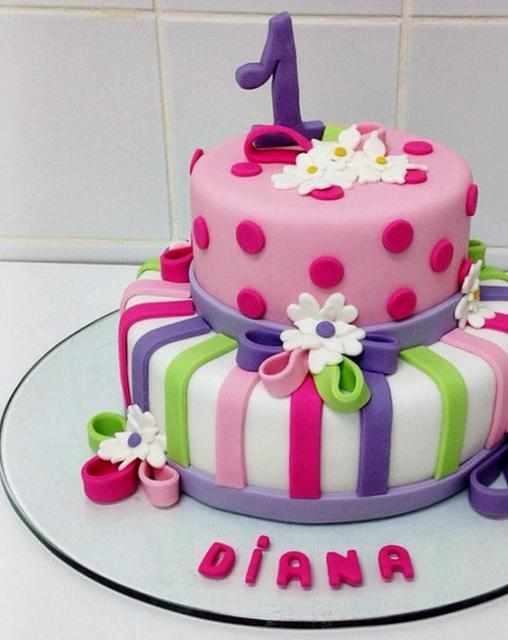 Garden Theme 2 Tier First Birthday Cake Jpg 2 Comments