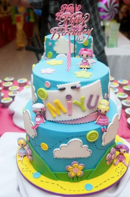 Cute 2 Tier Blue Doll Theme Birthday Cake For Girls With