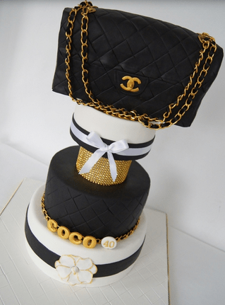 Coco Chanel Cakes Wit Large Black Leather Chanel Png