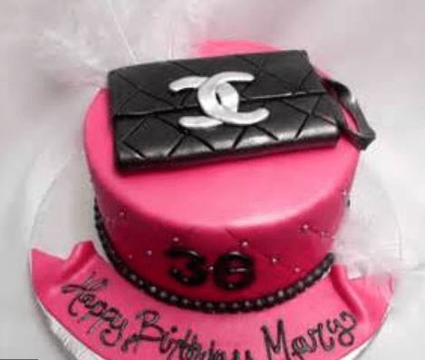 Newest Designer Handbags Cake In Hot Pink With Black