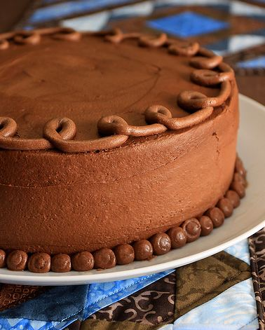Chocolate Cream Birthday Cake With Chocolate Swirl On Top