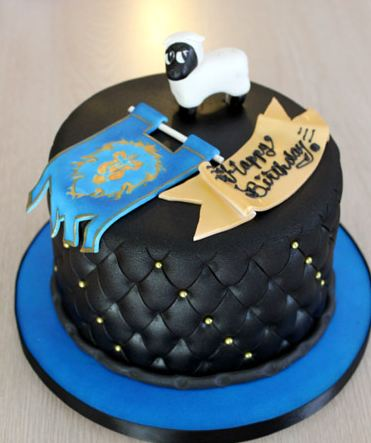 Round Black Leather Theme Cake With White Sheep On Top Jpg