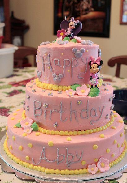 3 Tier Pink Disney Theme Birthday Cake Jpg