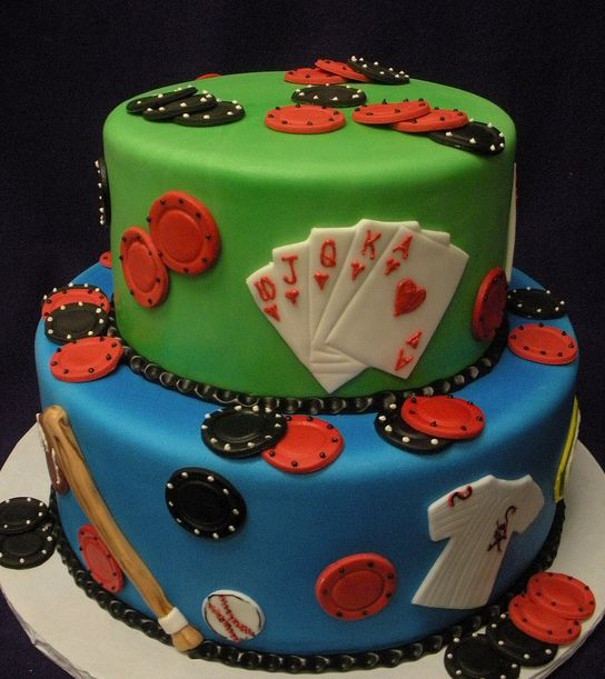 Two Tier Poker Theme And Baseball Theme Birthday Cake Jpg