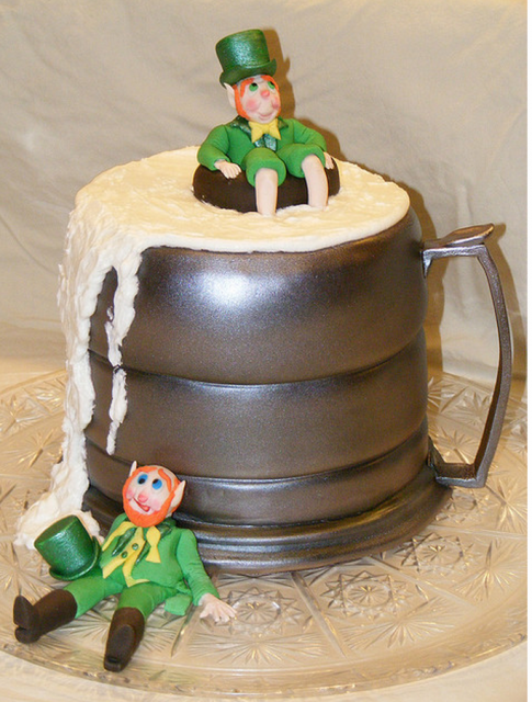 St Patrick S Day Party Cake With Beer Mug And Drunk Men