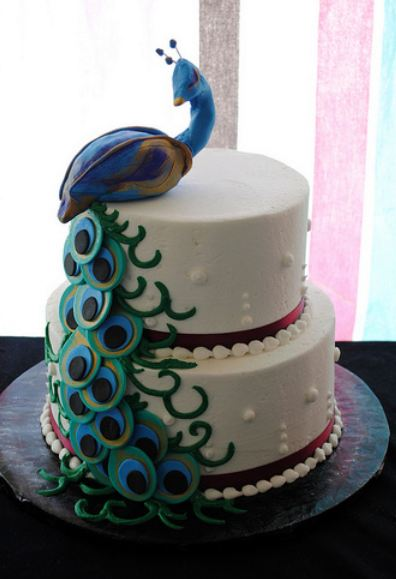 Two Tier Peacock Theme Birthday Cake Jpg 4 Comments