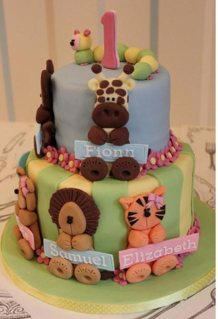 Two Tier First Birthday Cake With Animal Theme For Baby