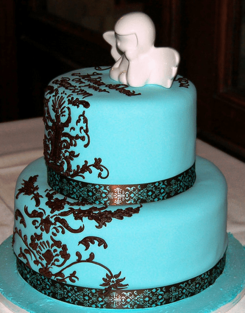 Turquoise Brown And Teal Baptism Cake Png 1 Comment