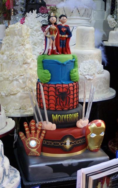 Superhero theme 4 tier Wedding Cake with Superman   Wonder Woman     Superhero theme 4 tier Wedding Cake with Superman   Wonder Woman Bride  Groom toppers