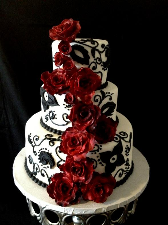 Cakes By Kat Black and White Cake with handmade Black Magic Roses