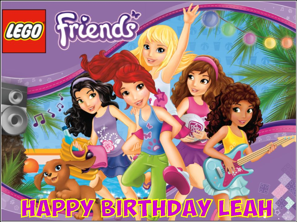 A4 Personalised Lego Friends Edible Icing Or Wafer Cake