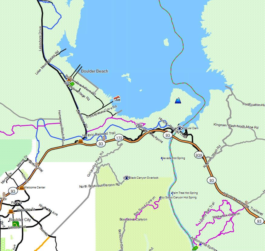 Lake Mead Nra California Trail Map