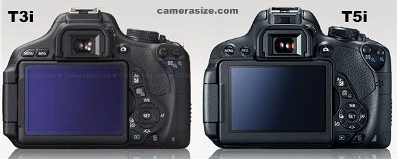 Canon Rebel T3i vs T5i   600D vs 700D   Differences Canon T3i and T5i side by side size comparison