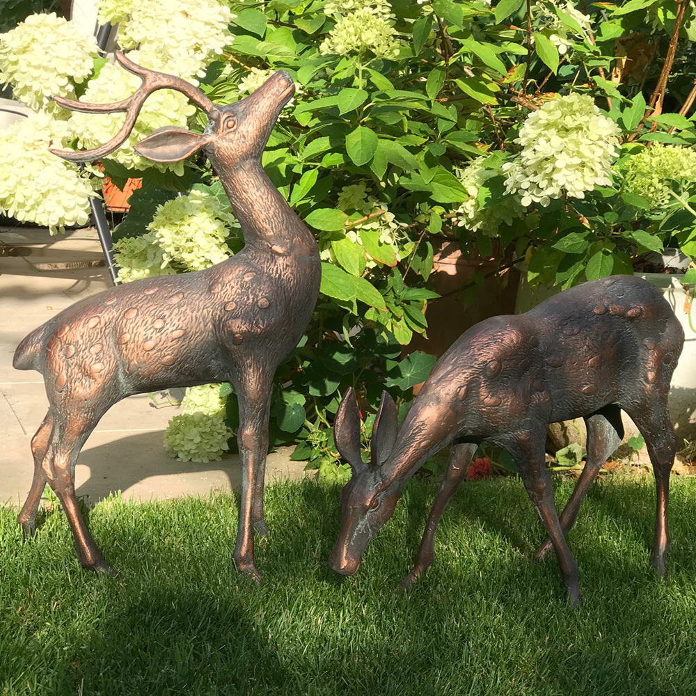 Small Metal Deer Garden Statues Pair Bronze Stag Statues