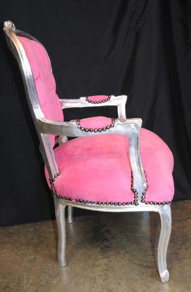 Shocking Pink French Arm Chair Seat Silver Gilt