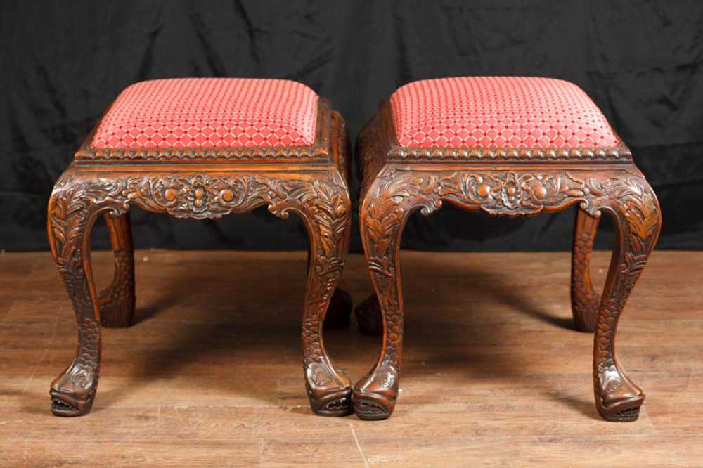 Pair Chippendale George Iii Carved Stools Seats Bench