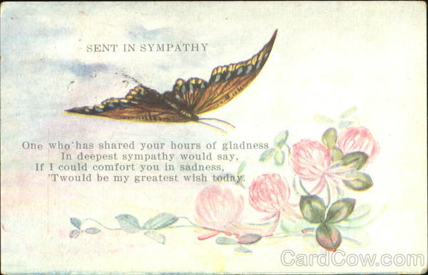 Sent In Sympathy Butterfly Greetings