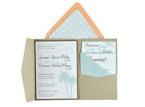 Cards and Pockets   Free Pocket Wedding Invitation Templates 5x7     Beachy   Free Wedding Invitation 5x7 Template Suite