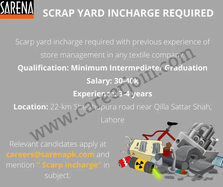 Sarena Industries Jobs Scrap Yard Incharge