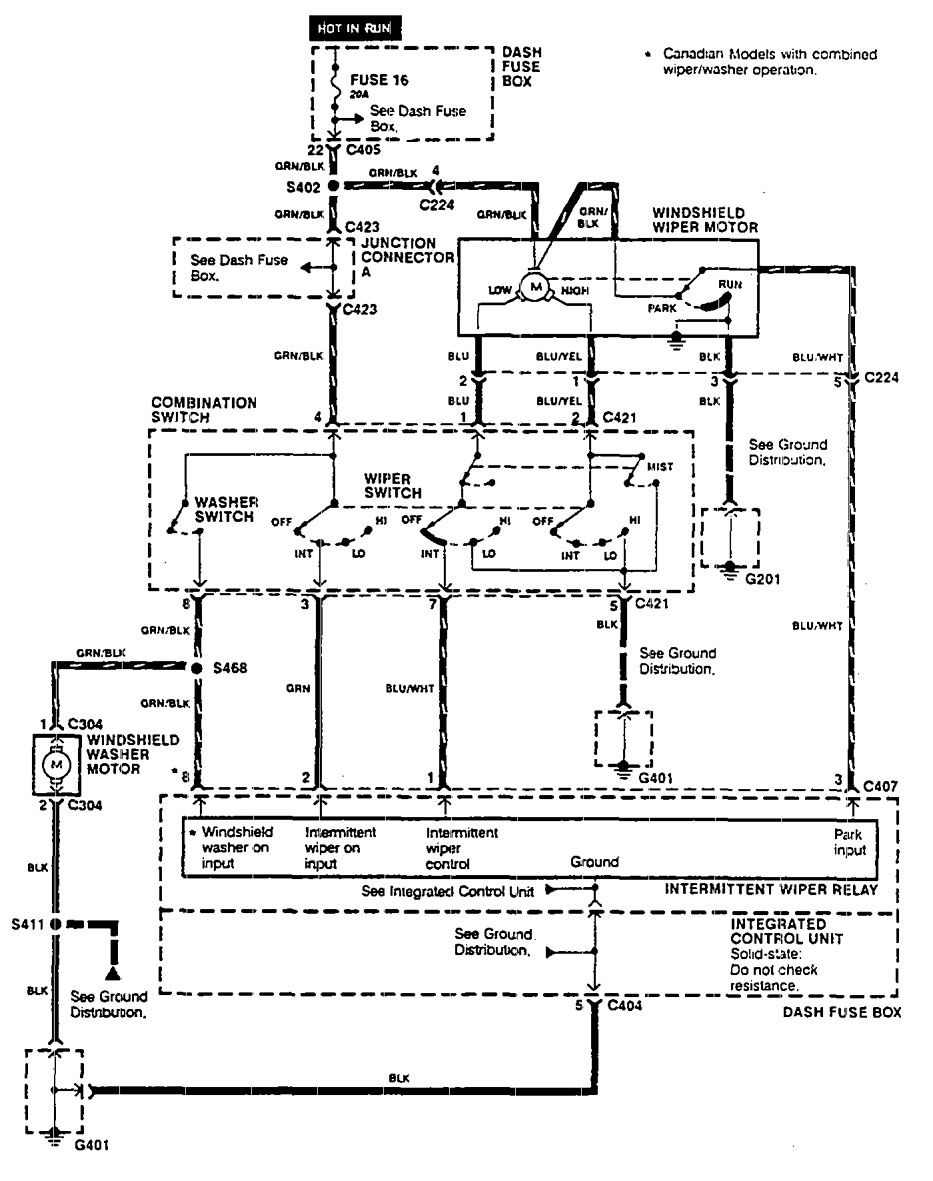 Acura integra wiring diagram wiper washer canadian models