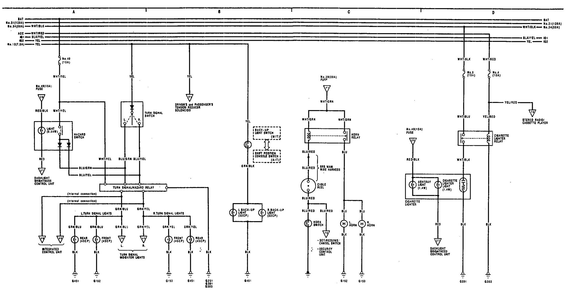 1993 Acura Vigor Replacement Parts Fuse Diagram