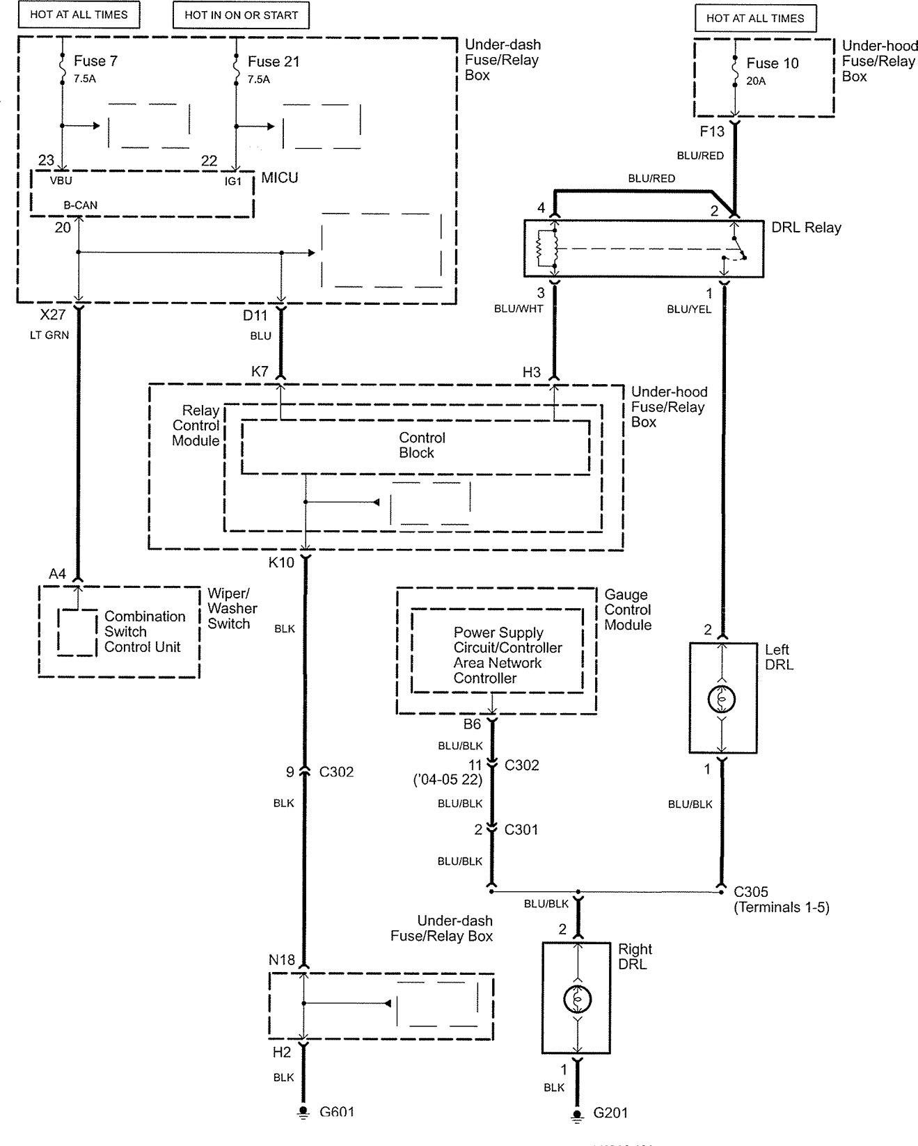 Acura tl wiring diagram daytime running l s