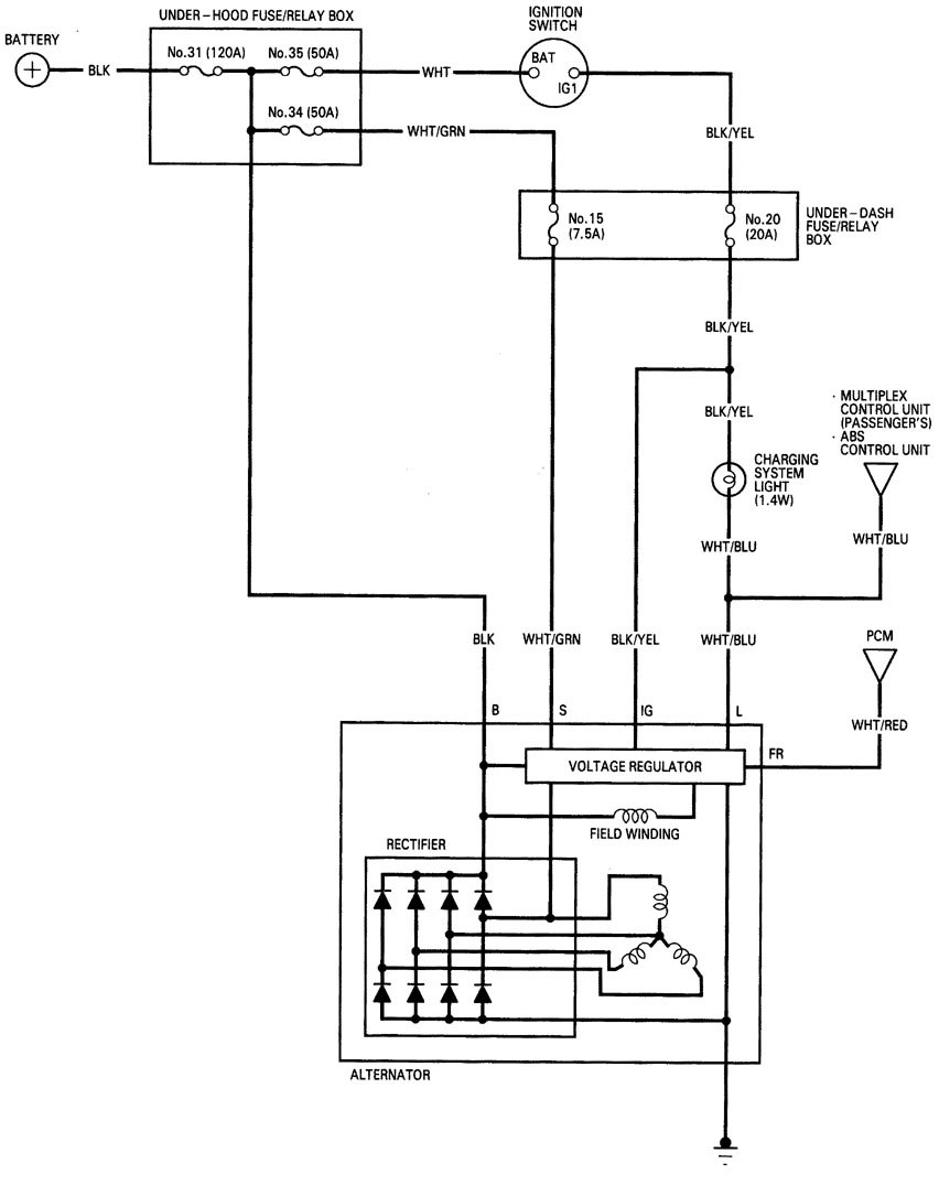 Acura rl wiring diagram charging system