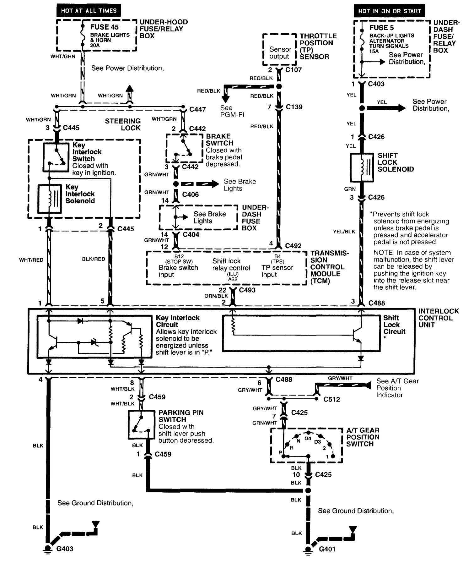 Acura nsx 1997 2005 wiring diagrams shift interlock