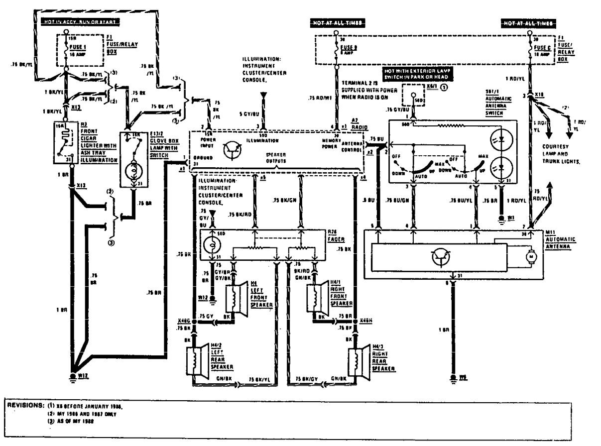 Speaker Wire Diagram 300sd Mercedes 1985 Building A Wiring S Cl W126 1983 Fuse Box 1980 Benz