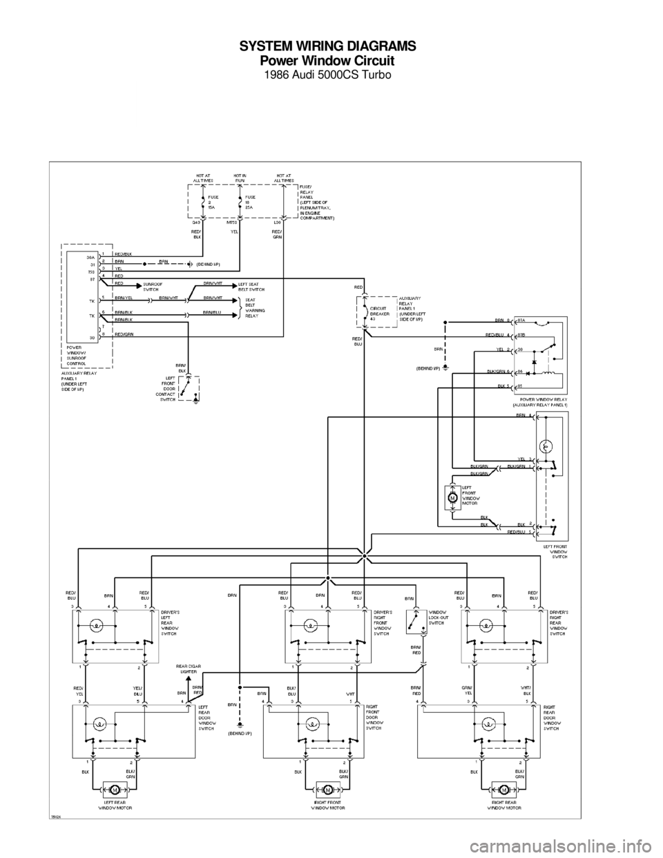 Audi 5000cs 1986 c2 system wiring diagram page 17 system wiring diagrams power window circuit