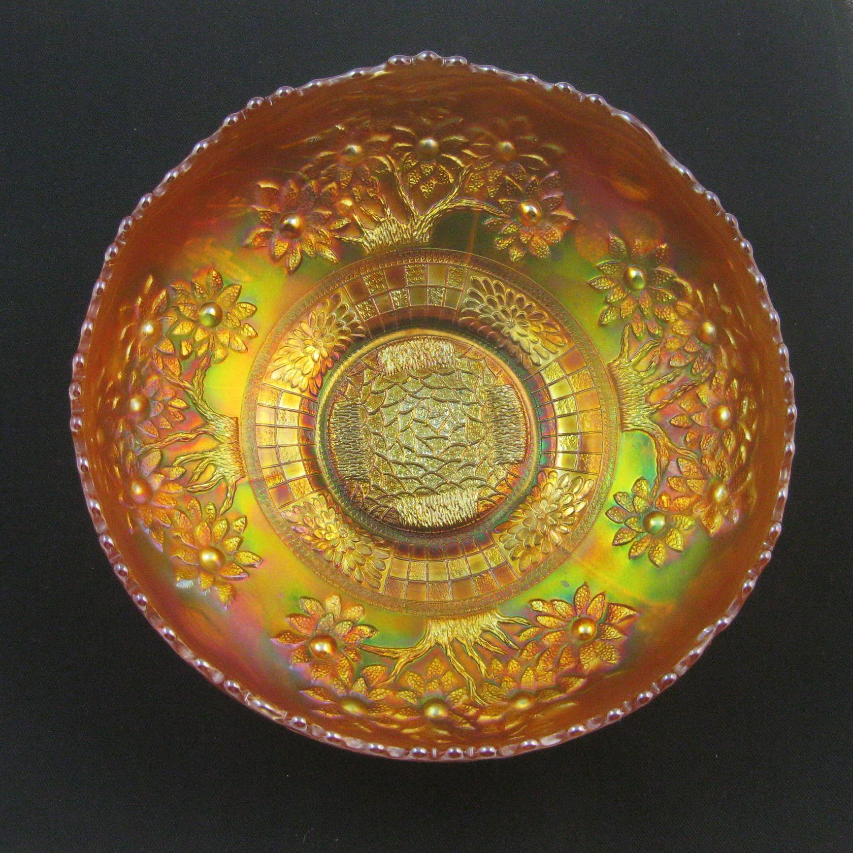 Antique Fenton Marigold Orange Tree Carnival Glass Ice