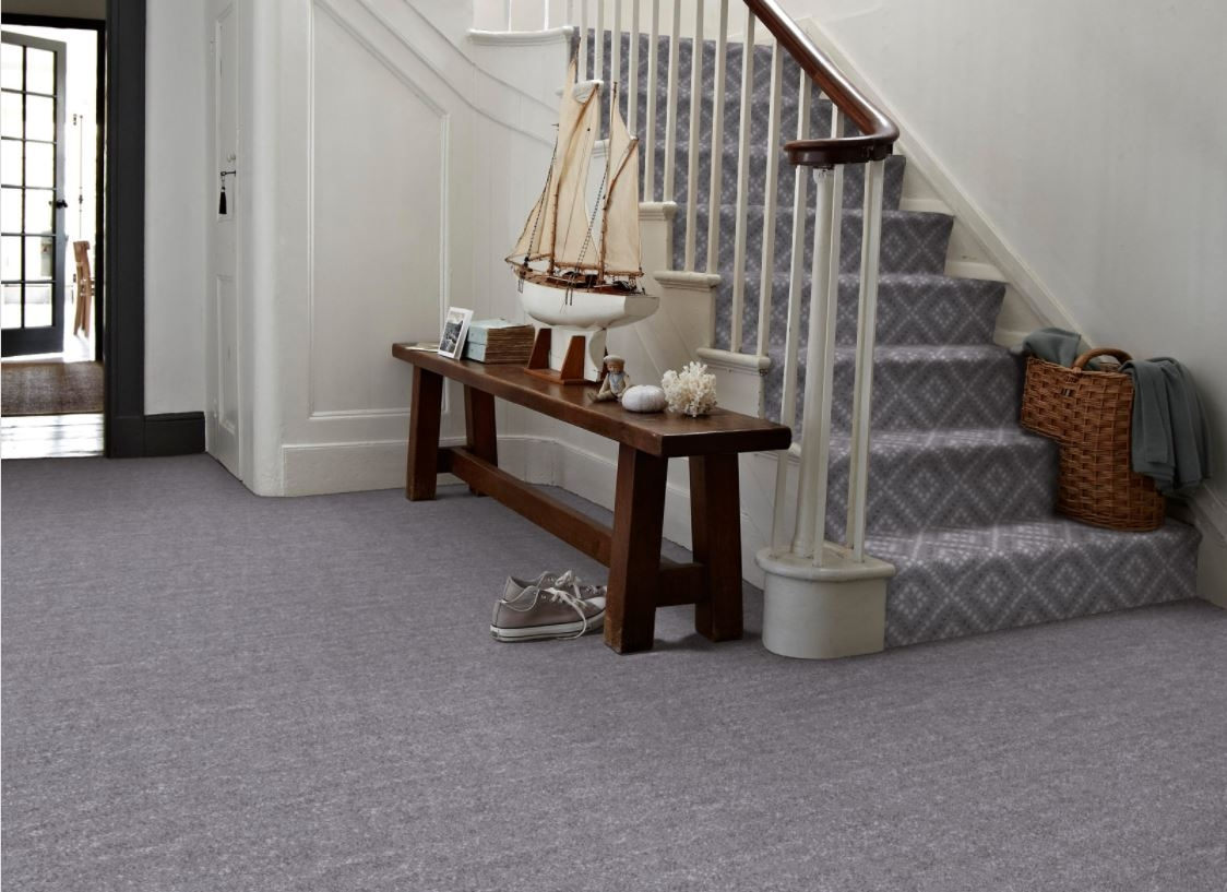 6 Of The Best Coloured Hallway Carpets Carpetright   Different Carpet On Stairs To Landing   Des Kelly   Striped Carpet   Wood   Grey Carpet   Flooring