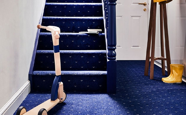 Hall Stairs Landing Carpetright   Blue Carpet On Stairs   Wooden   Grey Stair White Wall   Antelope   Geometric   Gray