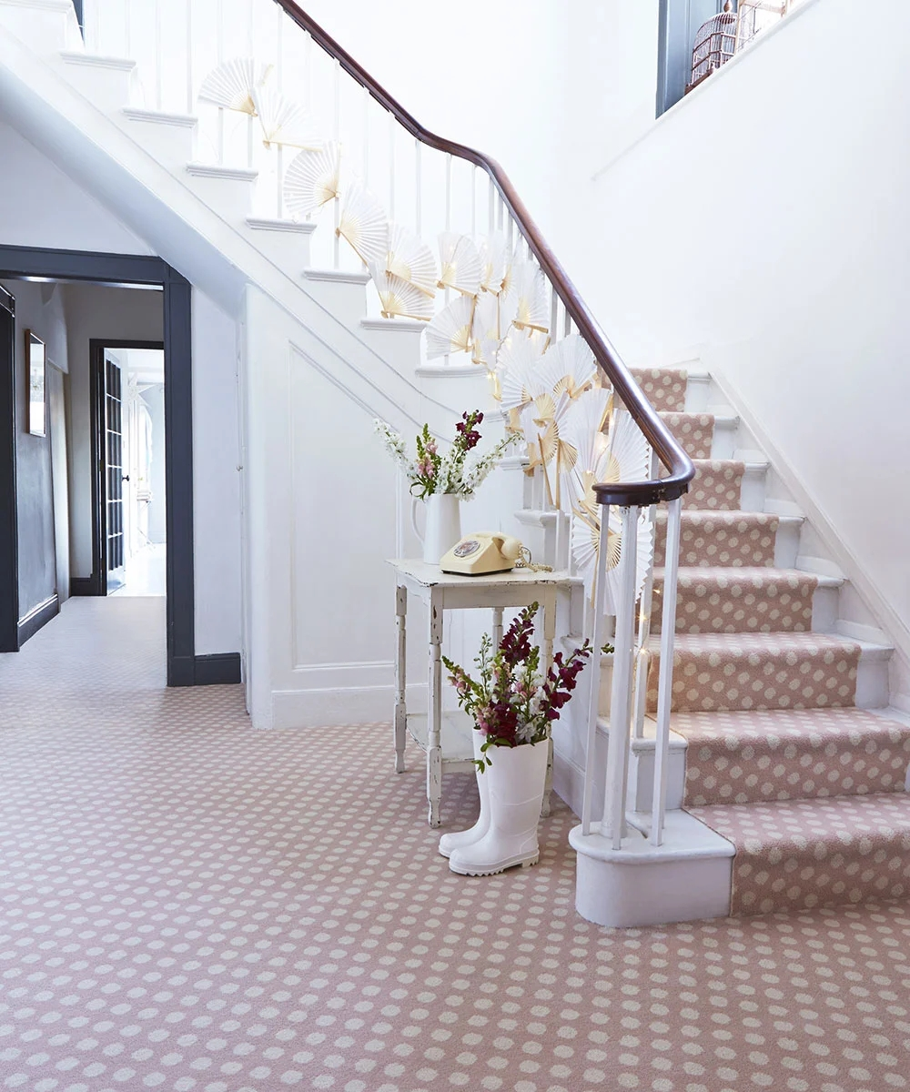 The Beauty Of Stair Runners Carpetright   Stairs With Carpet In The Middle   Modern   Popular   Laminate   Bright Striped   Royal Blue