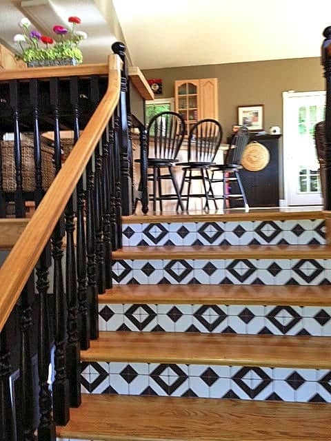 Faux Tile Stair Risers Casart Customer Gallery | Wood Stairs With Tile Risers | Color Scheme | Creative | Stair Outdoors | Grey | Tile Residential