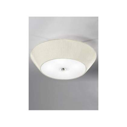 Franklite 4 Light Flush Ceiling Fitting With Cream Pleated Fabric     4 Light Flush Ceiling Fitting With Cream Pleated Fabric Shade And Satin  Glass Base