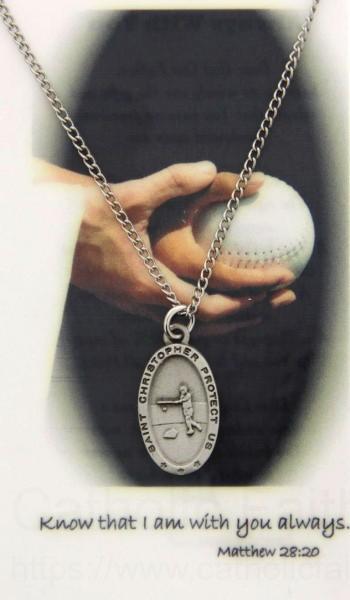 Girls St Christopher Softball Medal With Prayer Card